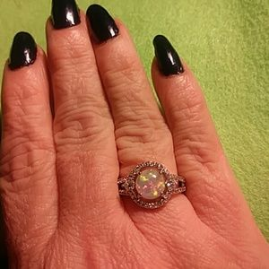 Jewelry - New Lab created opal halo ring sz7